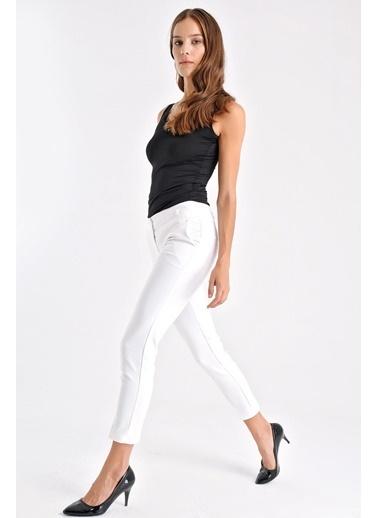 Jument Ashley Yüksek Bel Kalın Kemerli Cepli Pantolon Beyaz